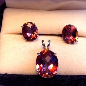 Twilight Fire Topaz Pendant with Earrings